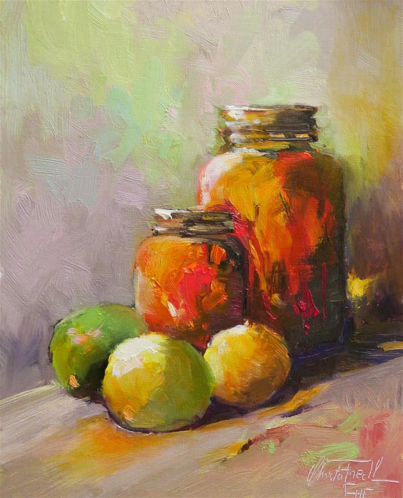 """Still life with three lemons"" original fine art by Christa Friedl"
