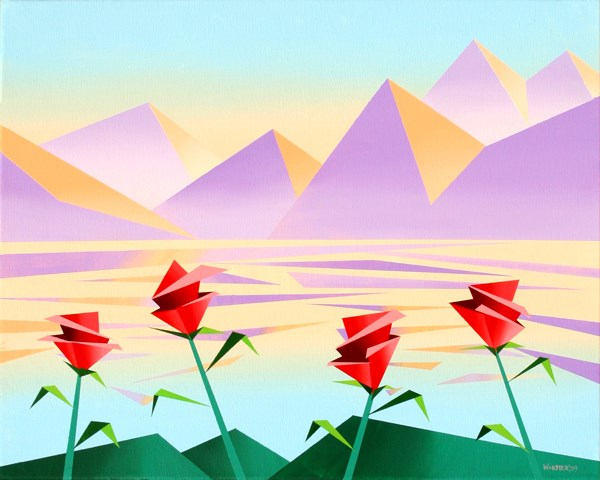 """Mark Webster - Abstract Purple Mountains with Flowers #2 - Geometric Cubist Acrylic Painting"" original fine art by Mark Webster"