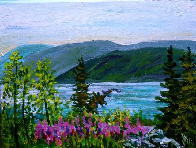 """Spring on Little Salmon"" original fine art by Jackie Irvine"