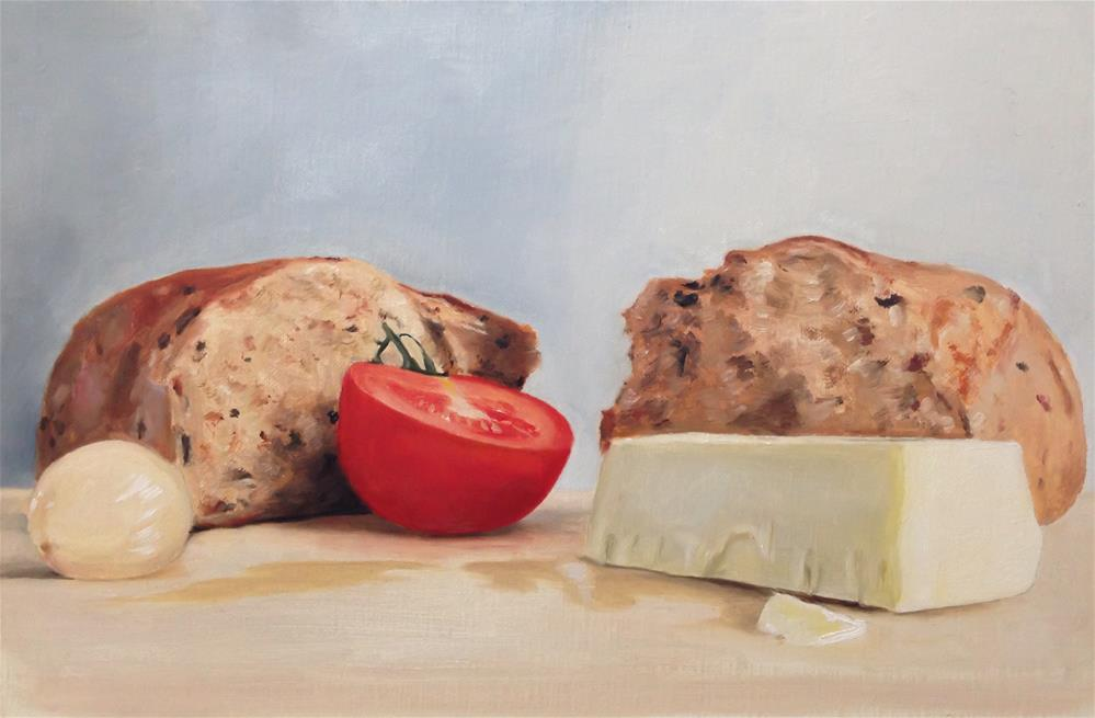 """Bread, Cheese, Tomato, Pickled Onion"" original fine art by James Coates"