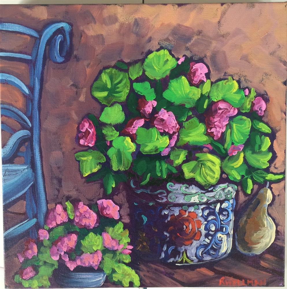 """Geraniums on a porch"" original fine art by Robyn Suzanne"
