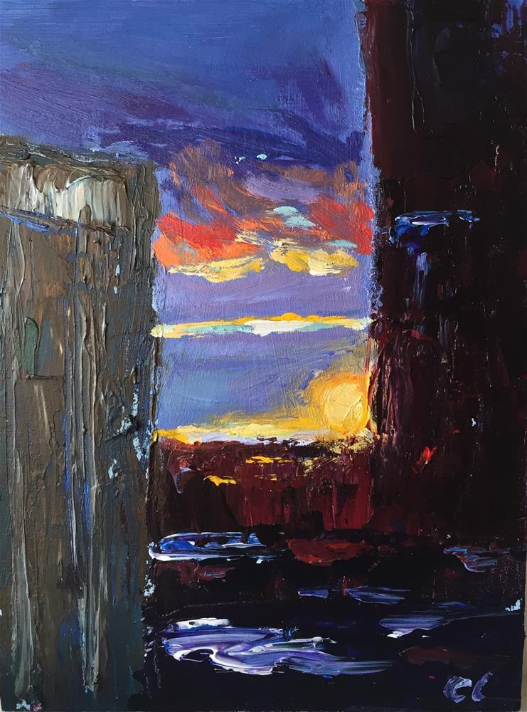 """City sunrise view"" original fine art by Cheree Apalona Lueck"