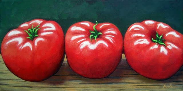 """The Three Tomatoes - realistic food still life painting"" original fine art by Linda Apple"