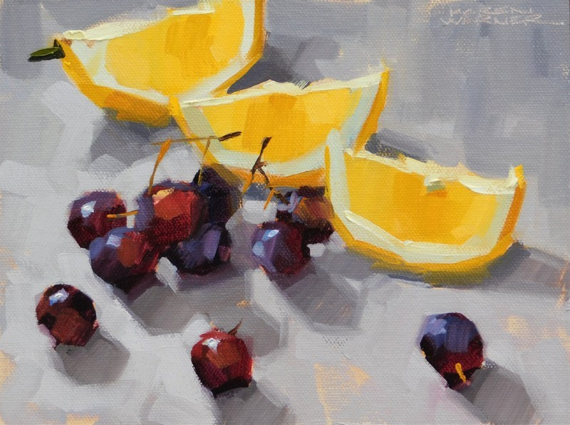 """Lemons Sing Backup"" original fine art by Karen Werner"