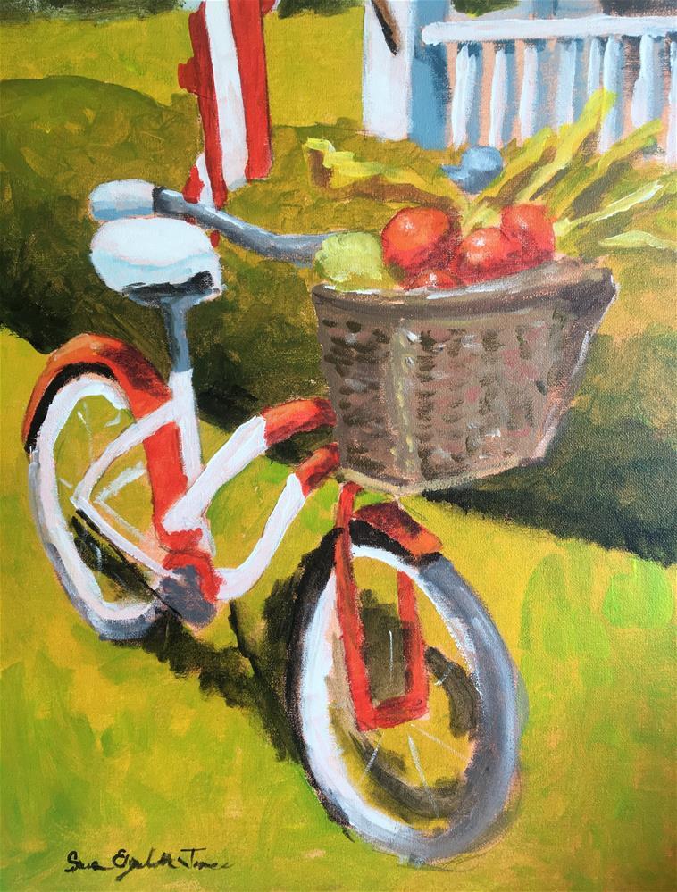"""My Bicycle class demo"" original fine art by Susan Elizabeth Jones"
