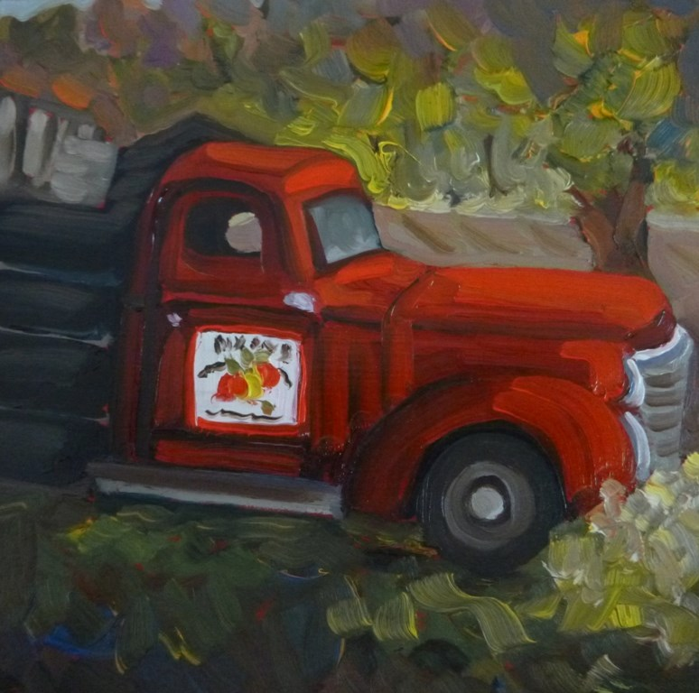 """43 OLD DIXON APPLE TRUCK"" original fine art by Dee Sanchez"