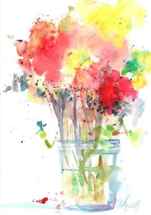 """Brusho Bouquet in Jar"" original fine art by Kay Smith"