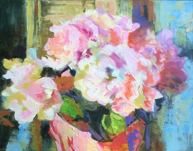 """Pot of Hydrangea"" original fine art by Charlotte Fitzgerald"