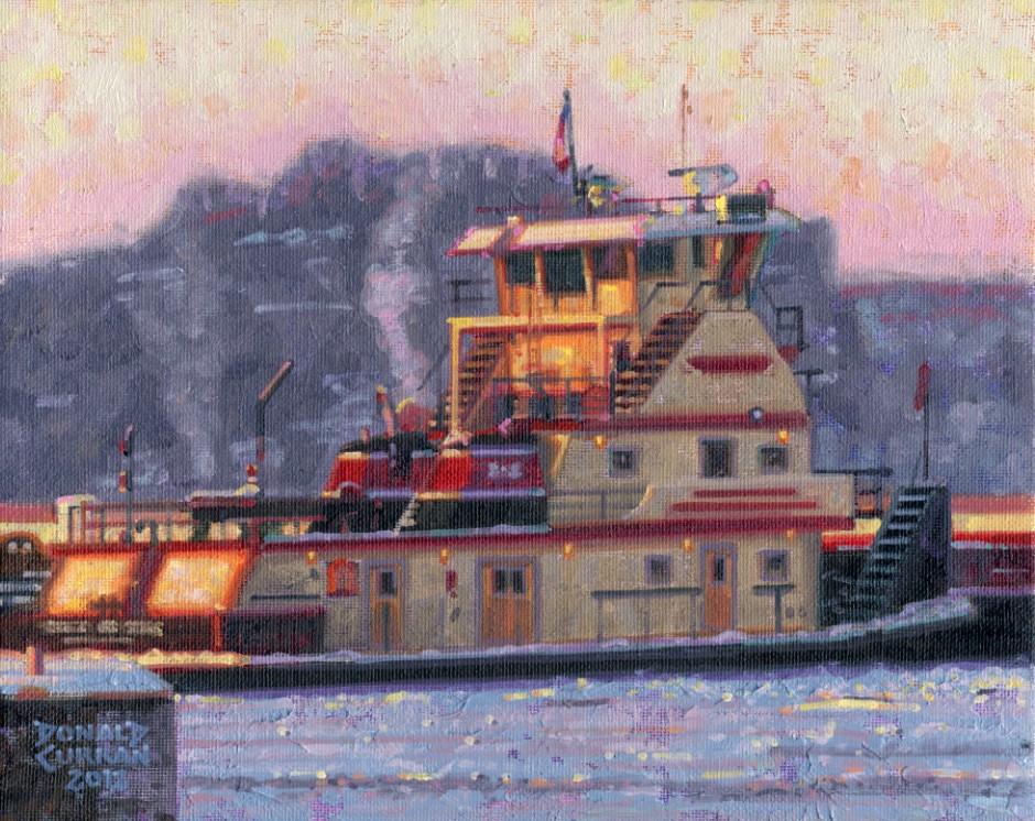 """River Tugboat"" original fine art by Donald Curran"