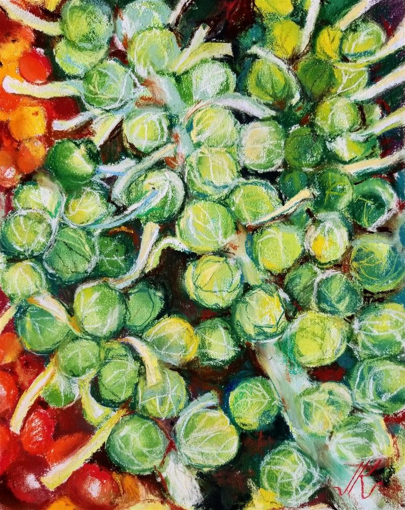 """Brussell Sprouts with Grape Tomatoes"" original fine art by Jean Krueger"