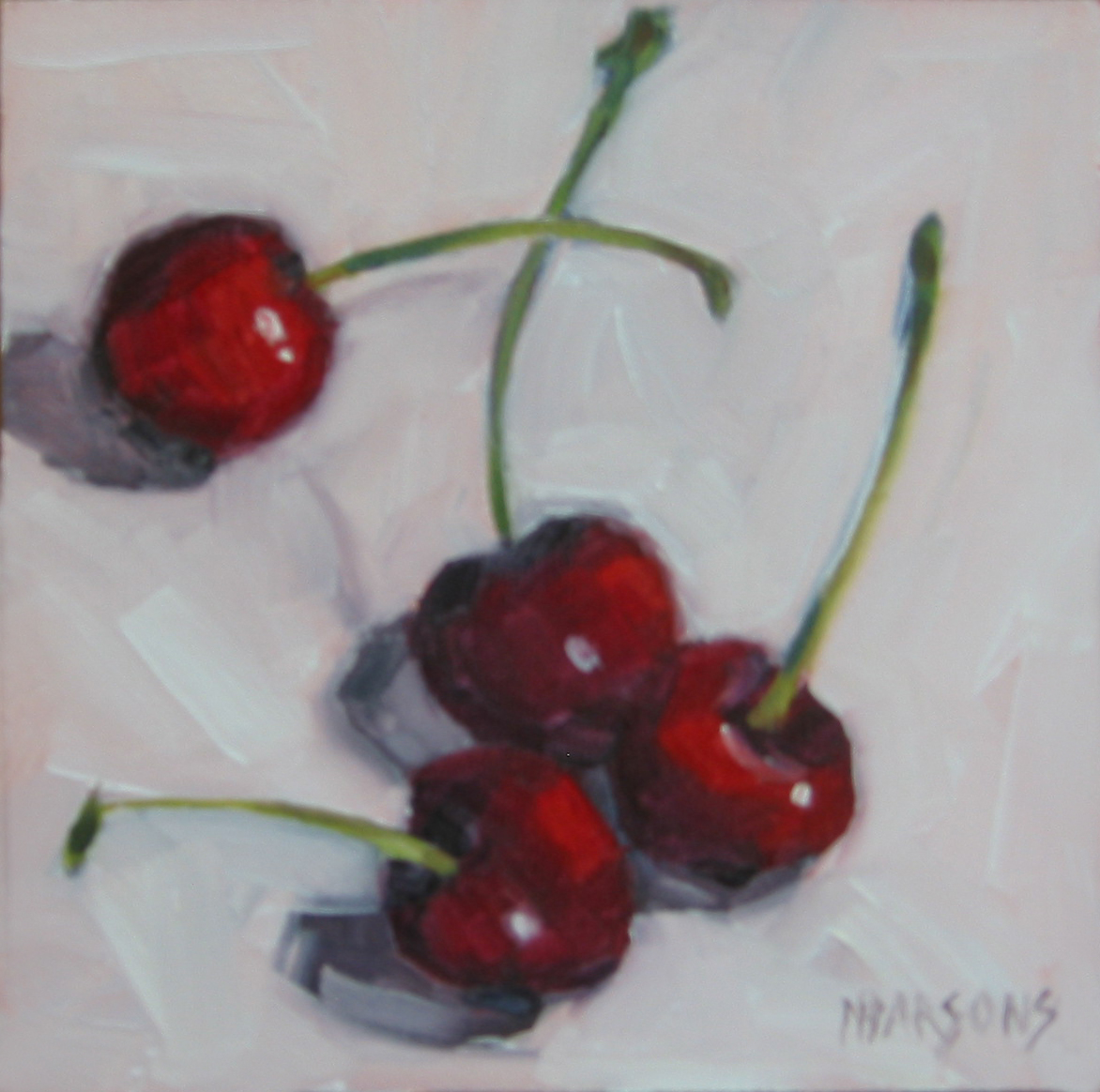 """Cherries Jubilee 6x6"" original fine art by Nancy Parsons"