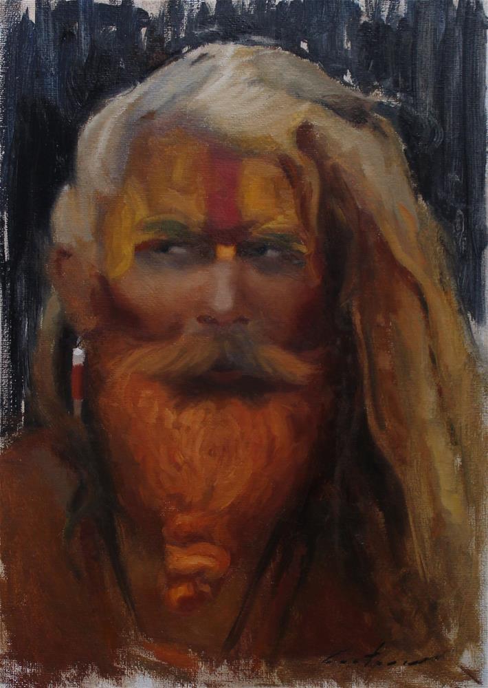 """Portrait of a Sadhu"" original fine art by Phil Couture"