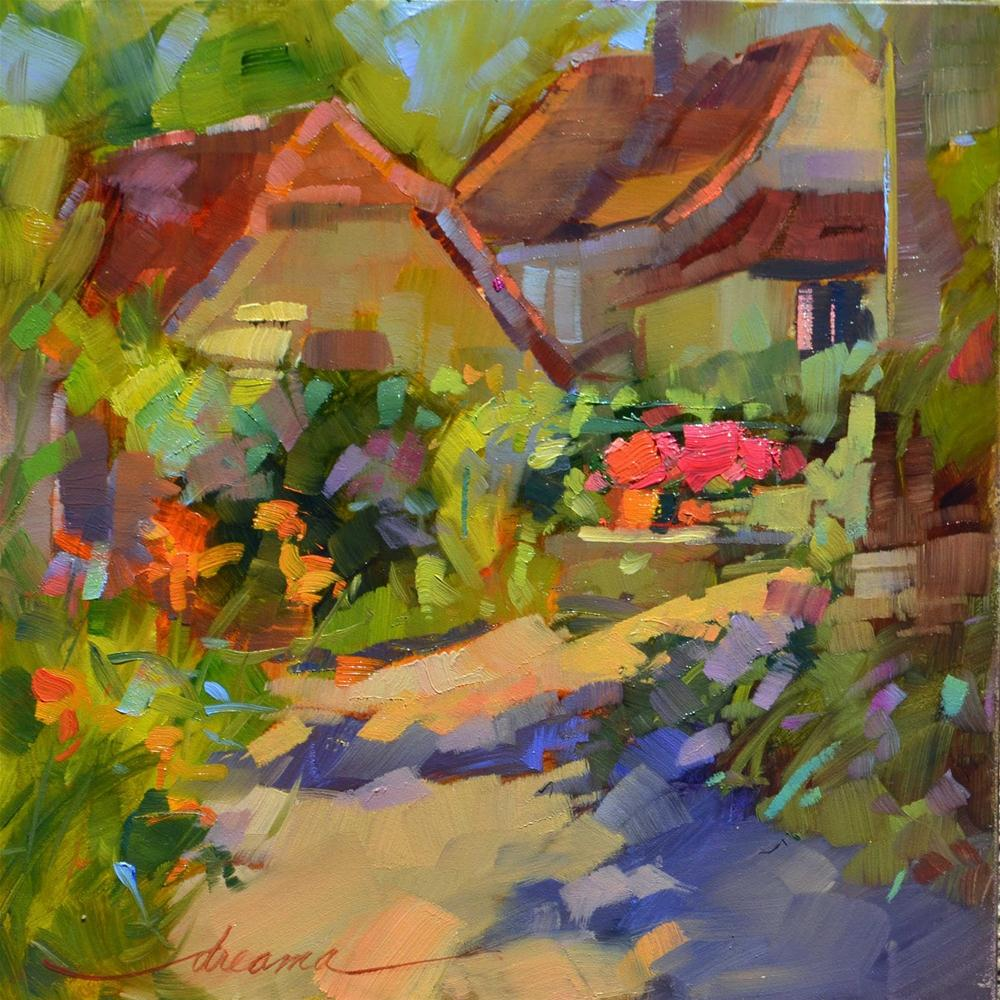 """""""Morning Glow in the Village"""" original fine art by Dreama Tolle Perry"""