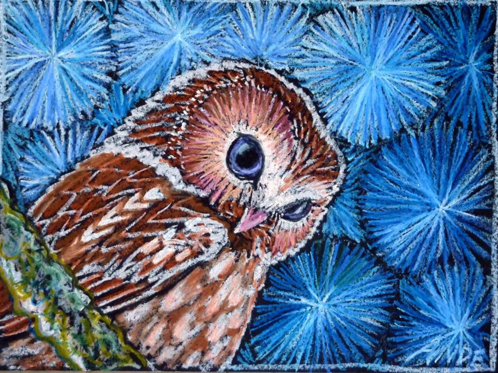 """Owl on Blue"" original fine art by Ande Hall"