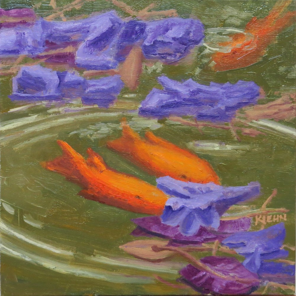 """Goldfish and Flower Petals"" original fine art by Richard Kiehn"