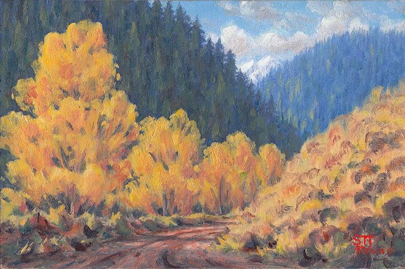 """C1491 Autumn Cottonwoods"" original fine art by Steven Thor Johanneson"
