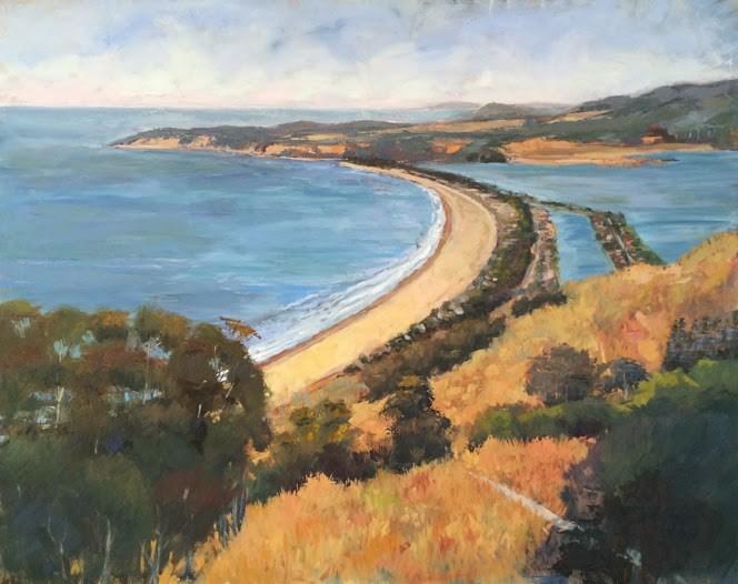 """View of Stinson Beach"" original fine art by Deborah Newman"