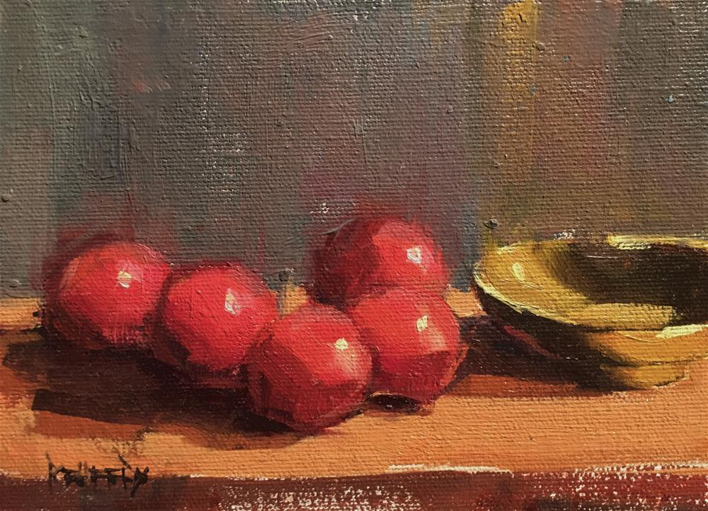 """""""Plums and Asian Bowl"""" original fine art by Cathleen Rehfeld"""