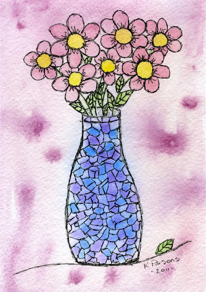 """""""Bouquet in a Mosaic Vase"""" original fine art by Kali Parsons"""