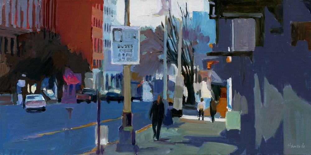 """Curb Lane Buses Only"" original fine art by Gretchen Hancock"