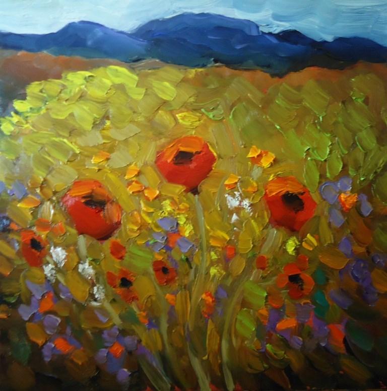 """141 POPPY TRIO painting five of my 145 day Challenge"" original fine art by Dee Sanchez"