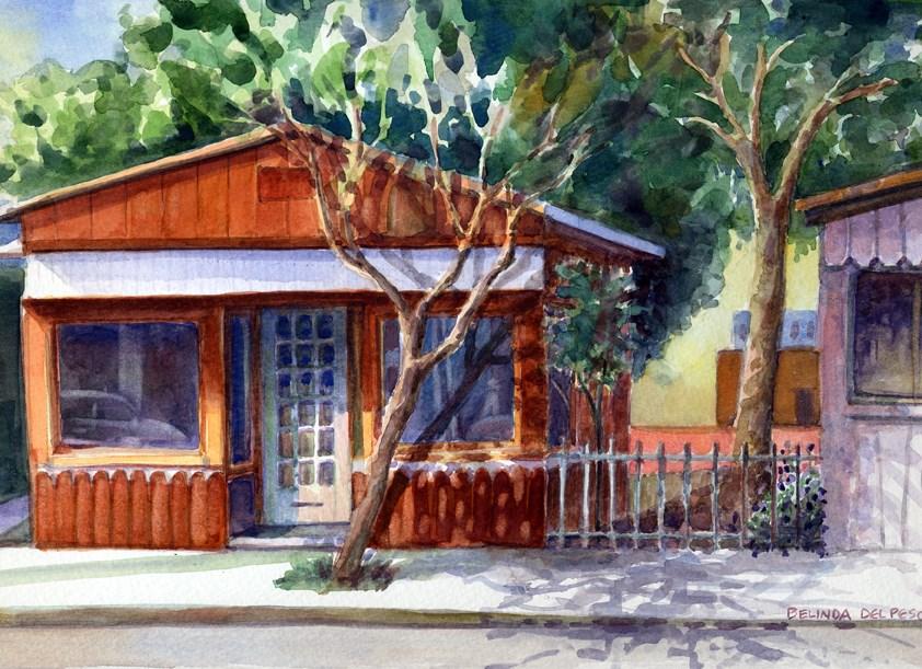 """""""Watercolor painting – Orange Storefront"""" original fine art by Belinda Del Pesco"""