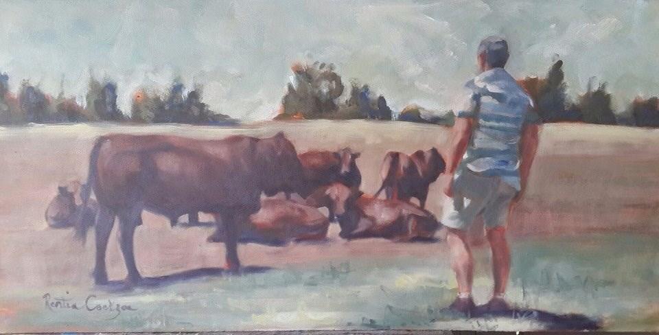 """Cattle farmer"" original fine art by Rentia Coetzee"