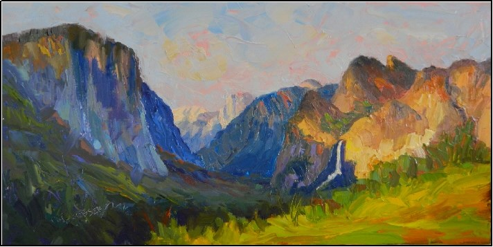 """""""Inspiration Point, 10x20, oil on linen, paintings of Yosemite, Inspiration Point, Maryanne Jacobse"""" original fine art by Maryanne Jacobsen"""