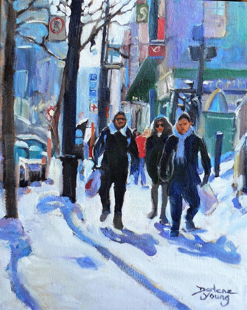 """982 Montreal Scene, Ste Catherine Near Guy, 8x10, oil on board"" original fine art by Darlene Young"