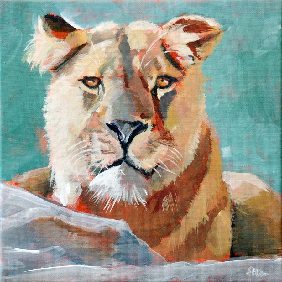 """""""1040 The Lion Challenge"""" original fine art by Dietmar Stiller"""