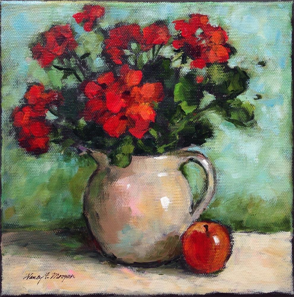 """Geraniums With Red Apple"" original fine art by Nancy F. Morgan"