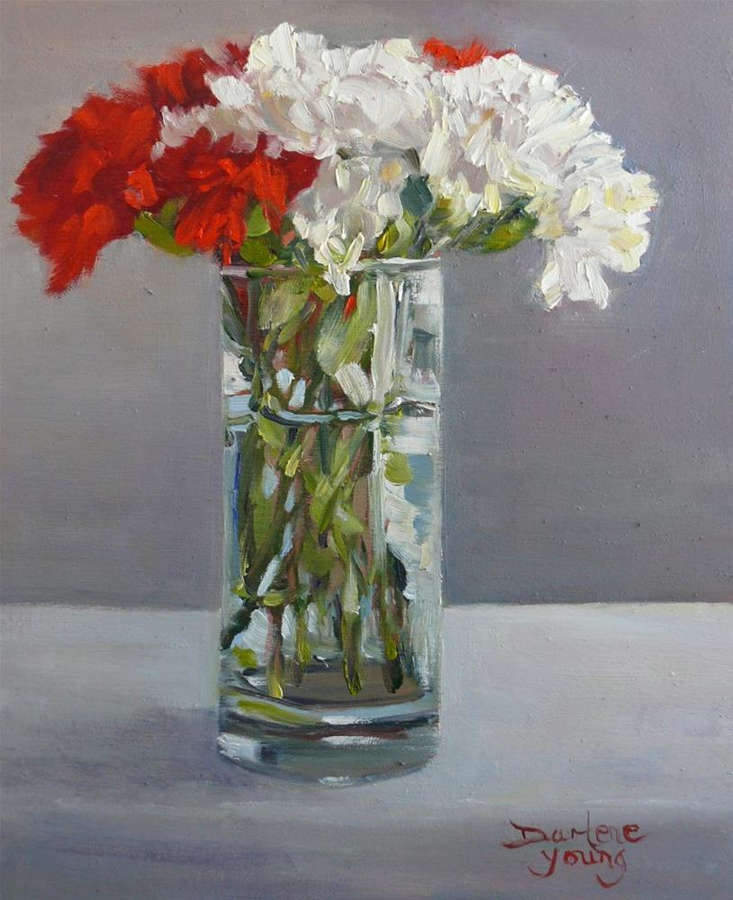 """""""847 Red and White Carnations in a Water Glass, oil on board, 8x10"""" original fine art by Darlene Young"""