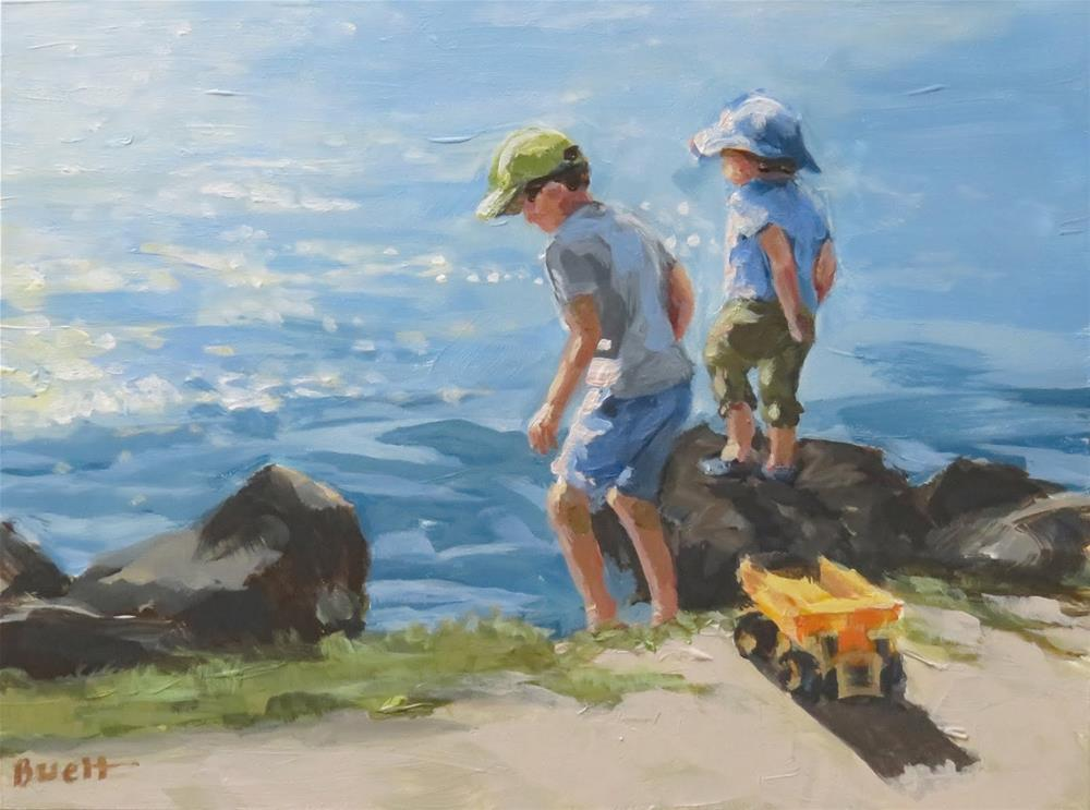 """Boys and Tonka Trucks"" original fine art by Shari Buelt"
