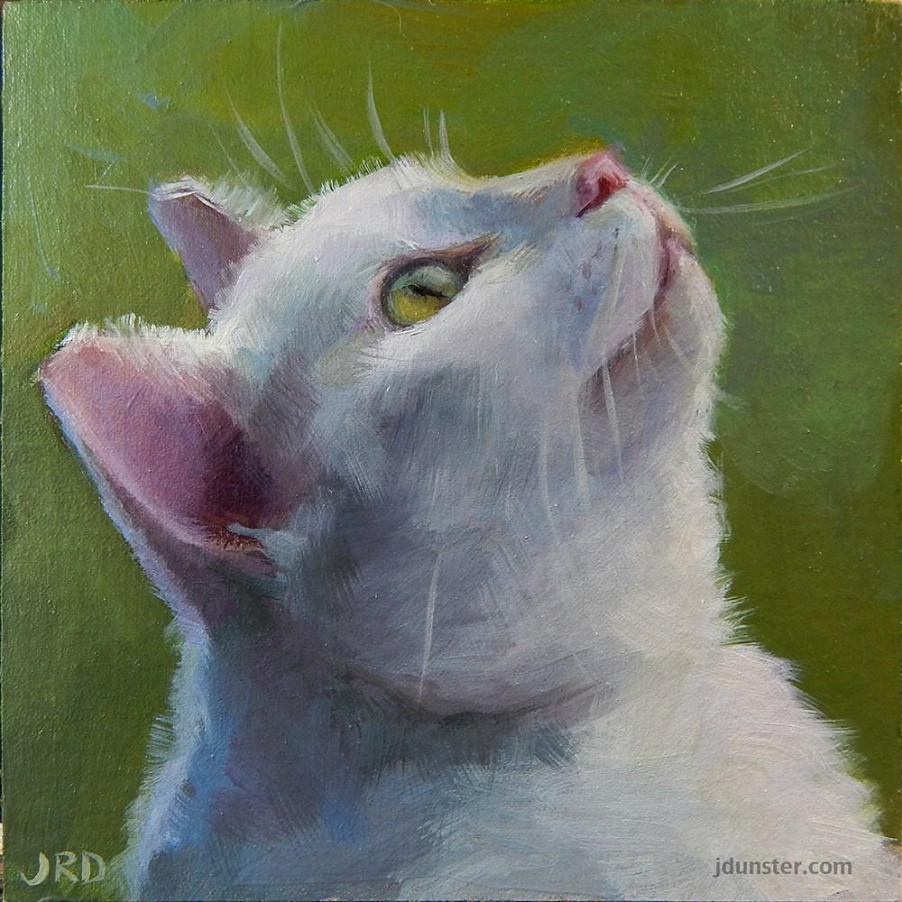 """Green Eyes - CAT HEAD"" original fine art by J. Dunster"