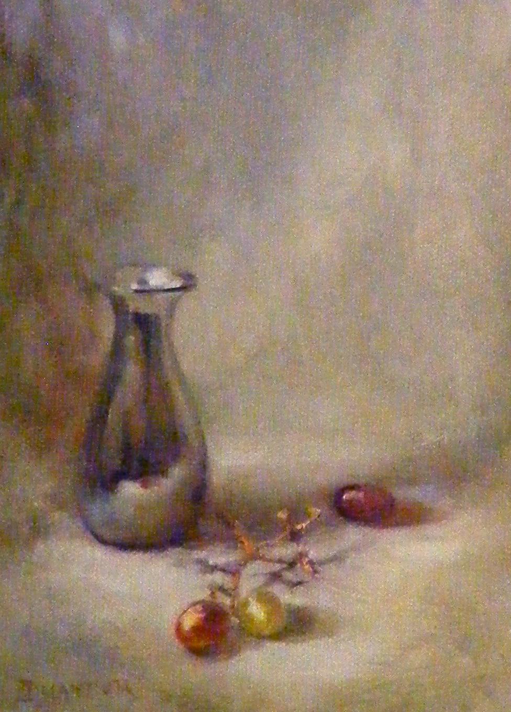 """Faux David Leffel Grapes & A Bud Vase"" original fine art by Diana Delander"