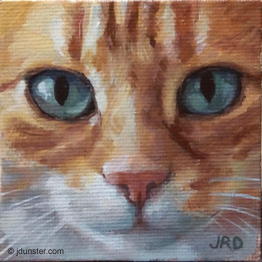"""Cute Orange Kitty [MINI PAINTING]"" original fine art by J. Dunster"