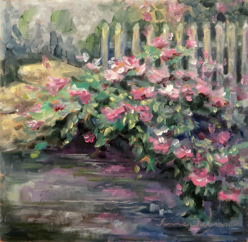 """""""Roses by the Fence"""" original fine art by Tammie Dickerson"""