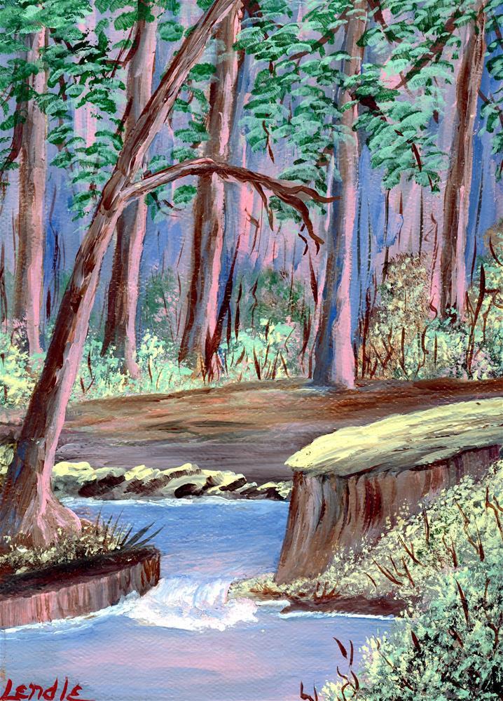 """Woods Aglow"" original fine art by Lendel Holmes"