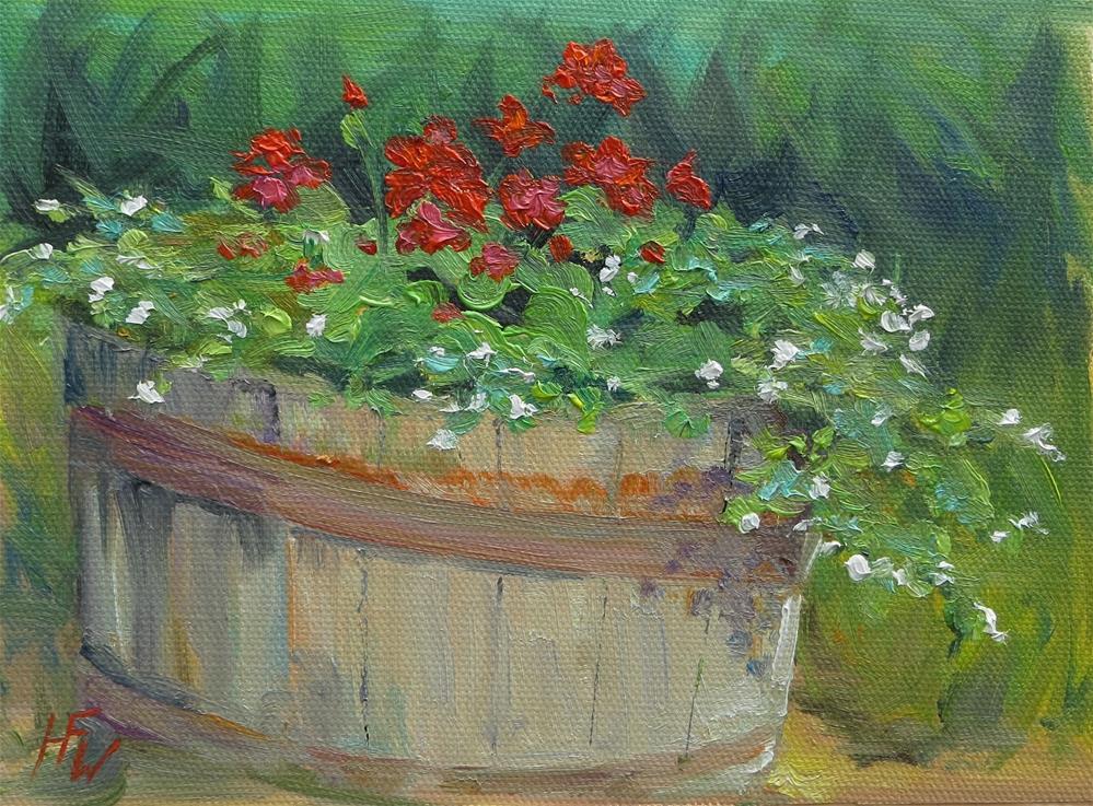 """""""Barrel of Flowers"""" original fine art by H.F. Wallen"""