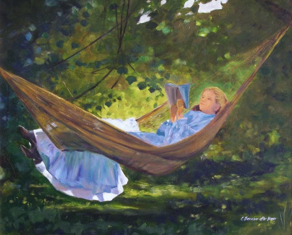 """Sunshine and Shadow, 24x20 Oil on Canvas, after Homer"" original fine art by Carmen Beecher"