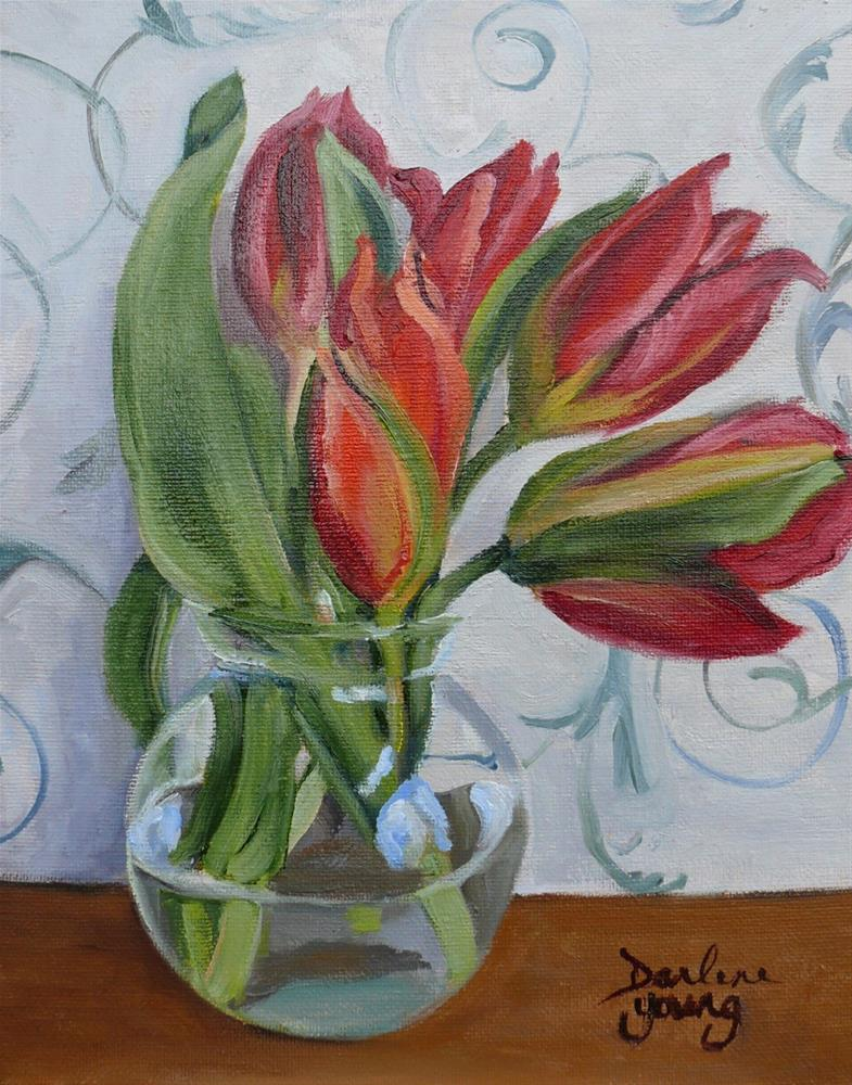 """1104 Red Tulips in a Glass Bowl, 8x10, oil on board"" original fine art by Darlene Young"