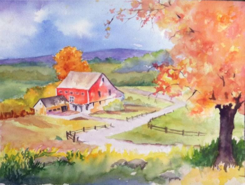 """""""Fall Farm"""" original fine art by Sue Dion"""