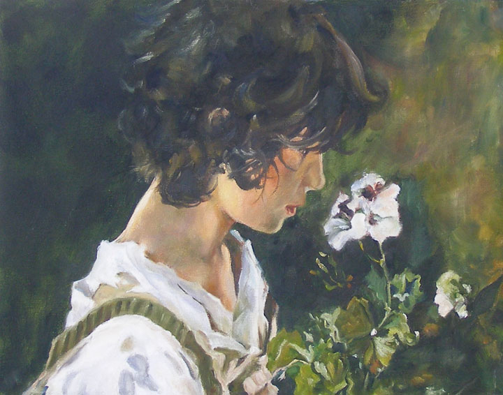 """Italian Girl with Flowers, after Joaquin Sorolla"" original fine art by Carmen Beecher"