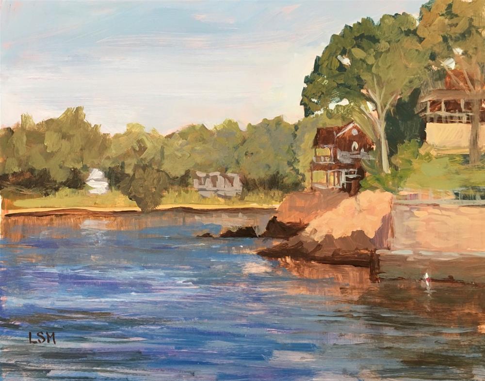 """Sunrise at the Point, Branford, CT"" original fine art by Linda Marino"