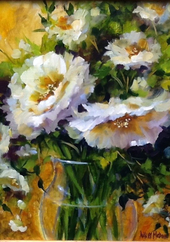 """Wayfarer White Roses"" original fine art by Nancy Medina"