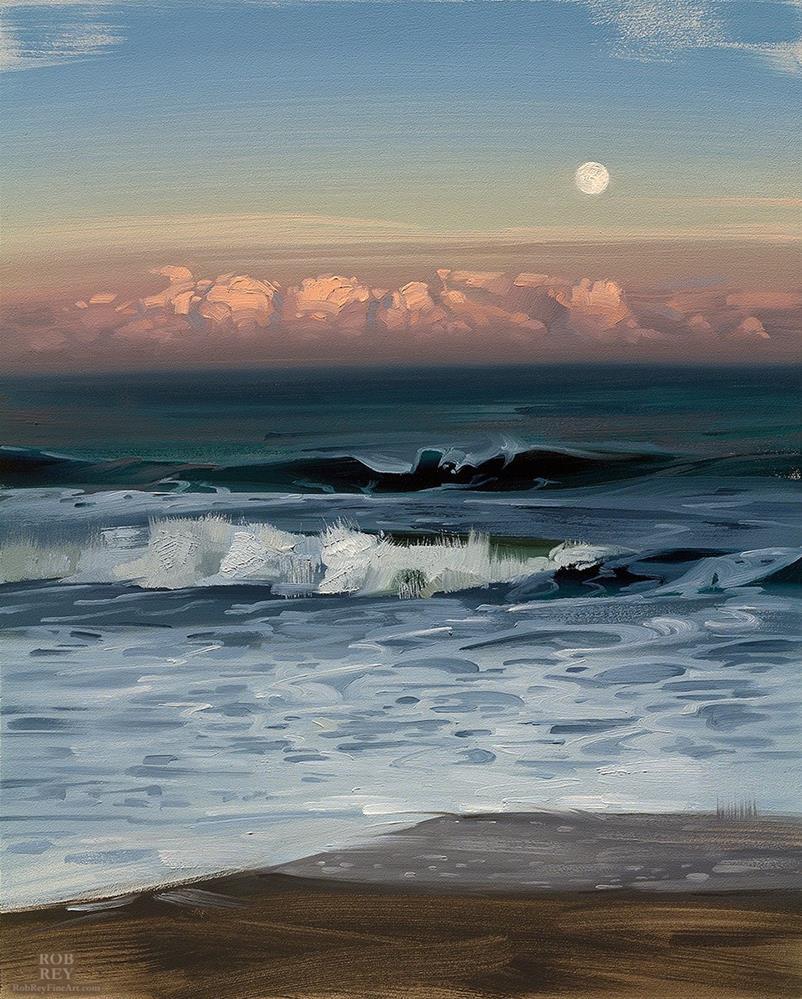 """Ocean Moonrise"" original fine art by Rob  Rey"