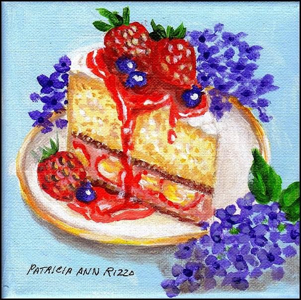 """""""Strawberry Cake and Lilacs"""" original fine art by Patricia Ann Rizzo"""