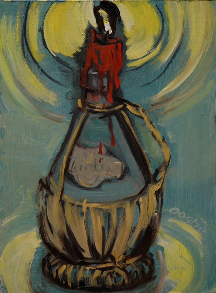 """""""Chianti Bottle"""" original fine art by Angela Ooghe"""