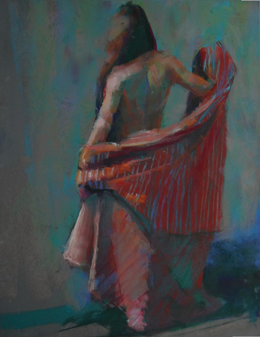 """""""Denise with Striped Fabric"""" original fine art by Margaret Dyer"""