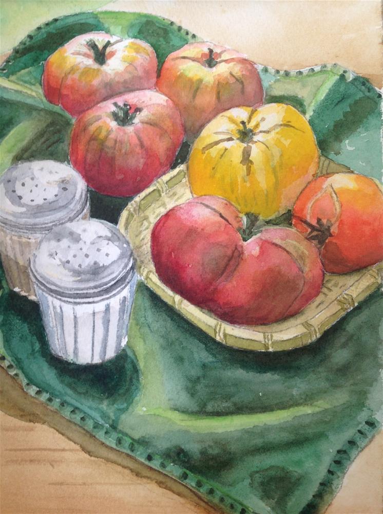 """Heirloom Tomatoes"" original fine art by Linda Sommer"